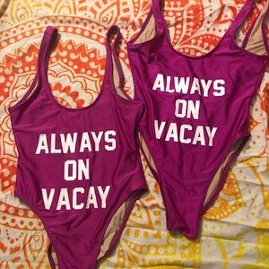 "Private Party  swim ""Always on Vacay"" M/L"